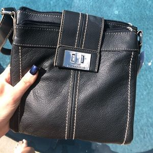 Never used black genuine leather Crossbody